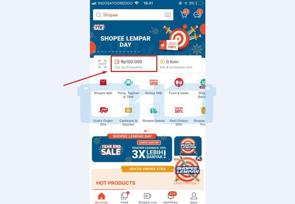 Pilih Menu Shopeepay untuk Penarikan Dana Shopeepay
