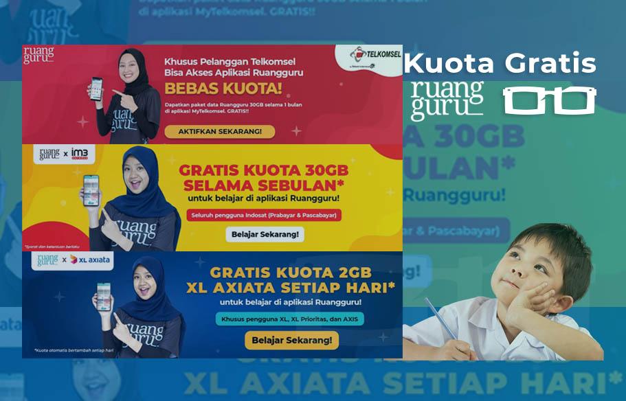 Dapat Kuota Ruang Guru XL Telkomsel Indosat Untuk Belajar di Rumah