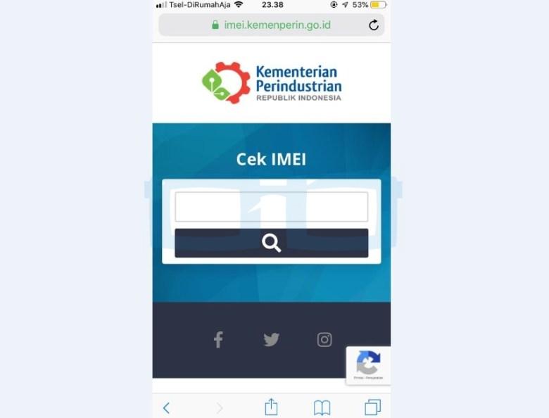 Buka Website imei kemenperin go id