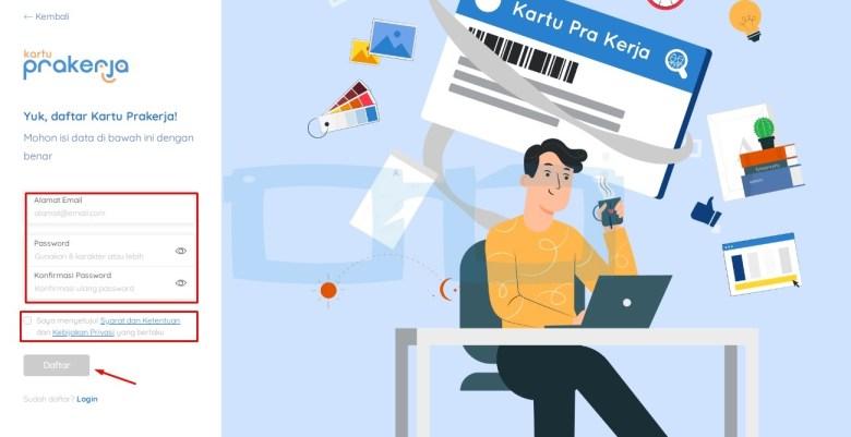Masukkan Email dan Password untuk Buat dan Daftar Kartu Pra Kerja