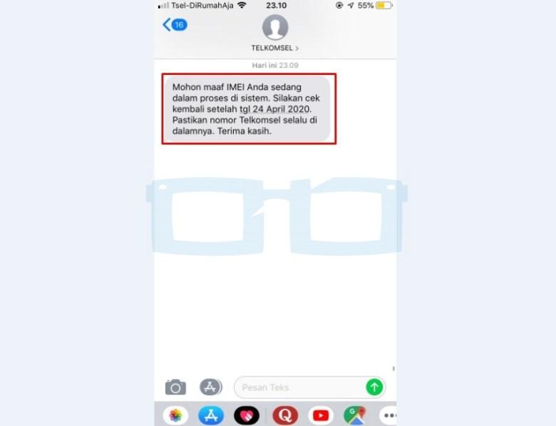 Sms IMEI Terdaftar Telkomsel