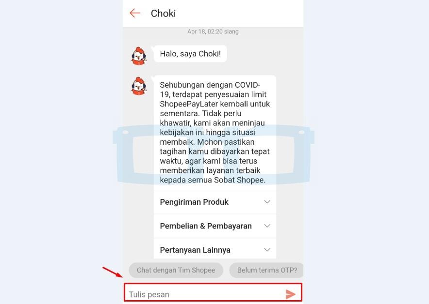 Tulis Pesan Chat dengan Customer Service Shopee