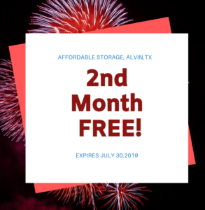 2nd Month Free July Special at Affordable Storage, Alvin, TX