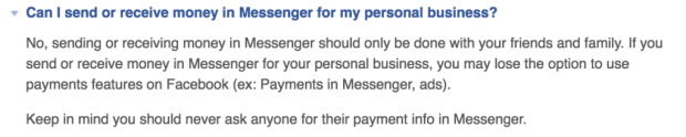 Payments through Facebook Messenger Bots