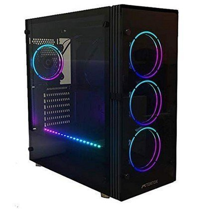 Tortox Shadow V2 Aura Supported RGB Gaming Case with Front Side Tempered Glass Panel