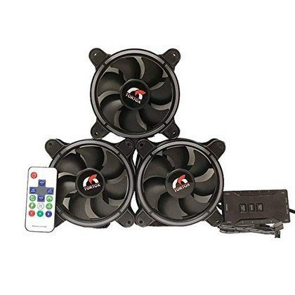 Tortox Spark 3X Aura Supported 120mm RGB Case Fan Bundle with Remote..