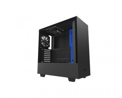 NZXT H500 Matte Black Blue SECC Steel And Tempered Glass ATX Mid Computer Case CA H500B BL