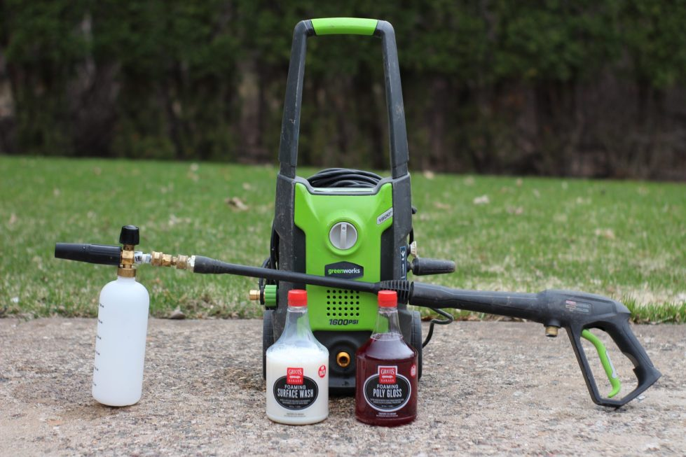 Greenworks 1600 PSI electric pressure washer, with attached MTM Hydro foam cannon, used with Griot's Garage foaming car wash products.