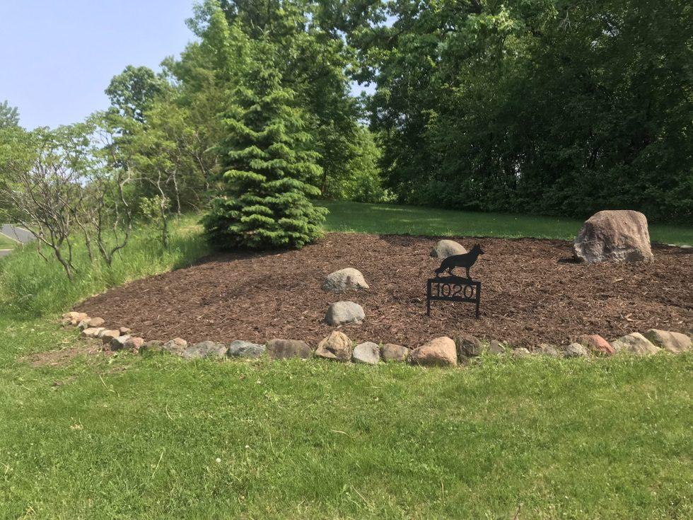 A freshly mulched garden bed