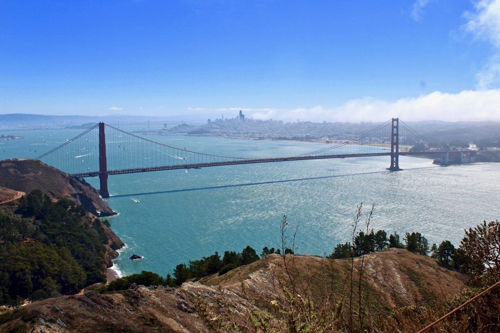 The Golden Gate Bridge on a sunny day from a high vantage point at the Golden Gate View Point.