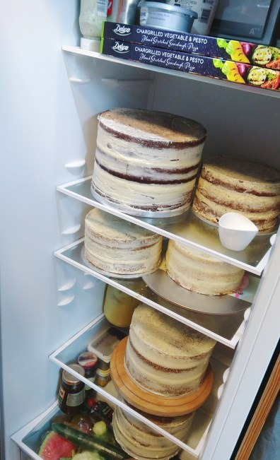 DIY Wedding Cake: A fridge full of stacked cakes