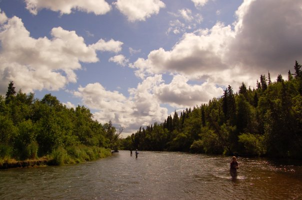 Men fly fishing on the Lower American Creek in Alaska