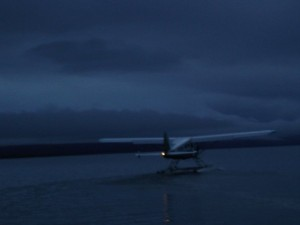 A de Havilland Beaver taxis out to take off into an Alaskan morning