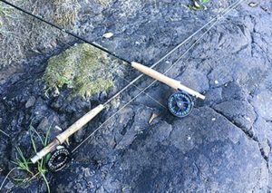 Two fly reels and rods lying across a rock.