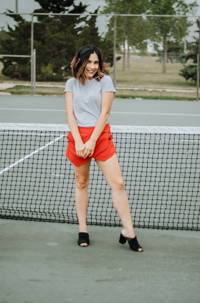 Skort is being featured here from Forever 21. The mules are from H&M.