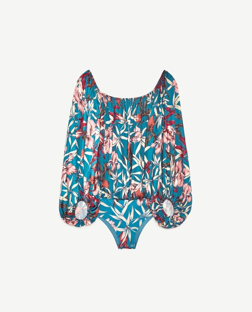 zara tropical print body suit