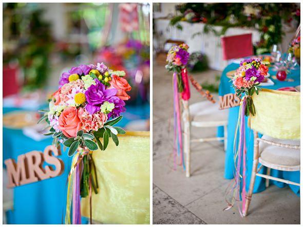 colourful floral chair decor