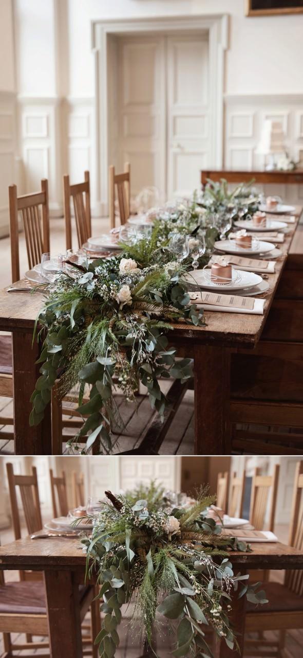 foliage table runner on long oak wedding table