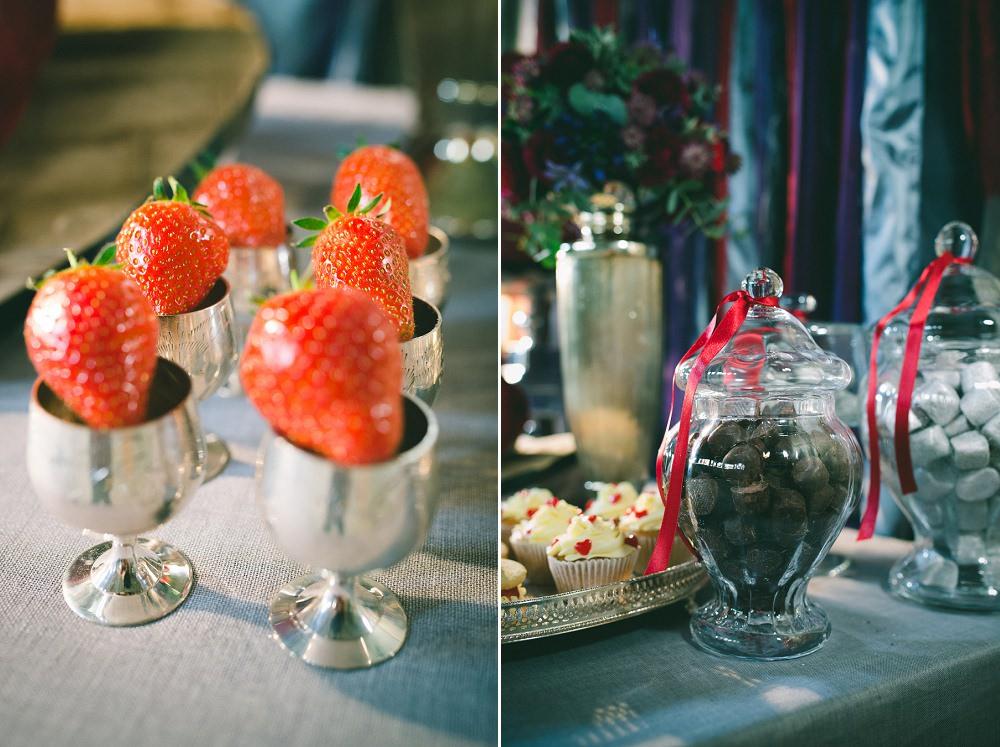 red heart themed wedding desserts