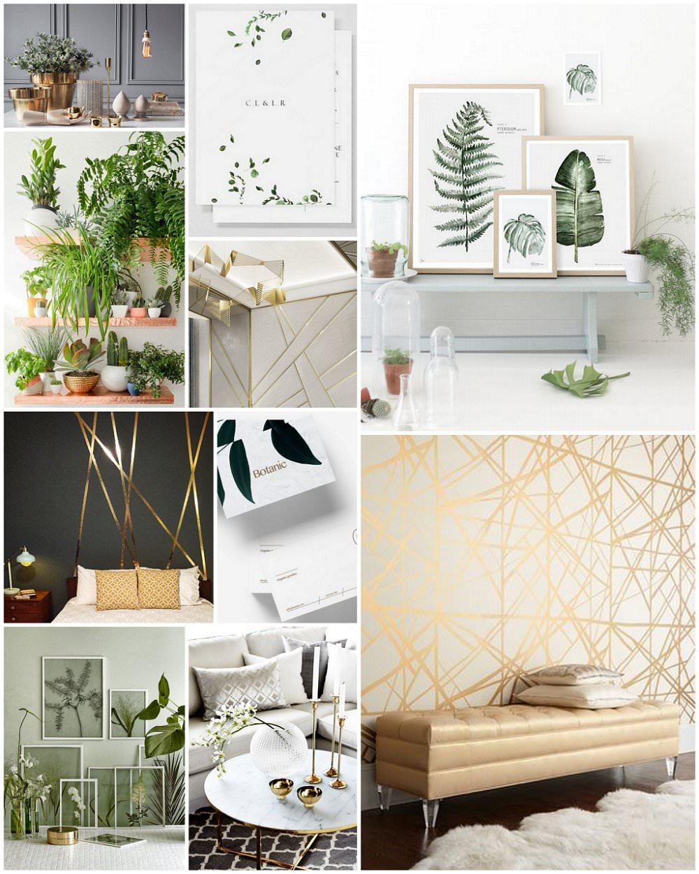 botanical and gold geometric moodboard