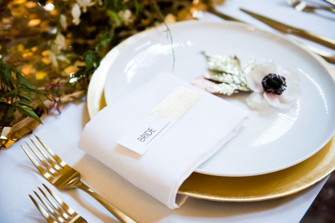 modern gold foil place card wedding Fitzrovia Chapel wedding photoshoot but Always Andri Wedding Design