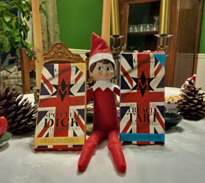 My Elf on the Shelf is holding the gift of chocolate I received from Angela, my Twitter Friend from Wales. I received Great British Spotted Dick Pudding Bars and Great British Treacle Tart Pudding Bars