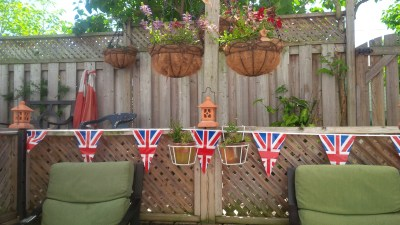 British bunting decorating our backyard