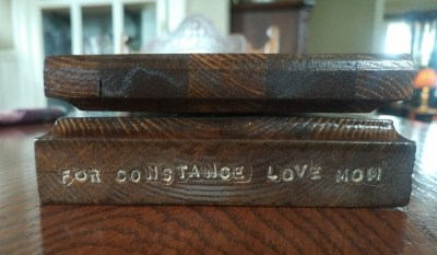 "My husband has made sure middle child will not forget who made the Cribbage Board for her: ""For Constance Love Mom"" with his stamping tools."