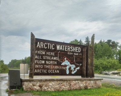 Artic Watershed streams flow north