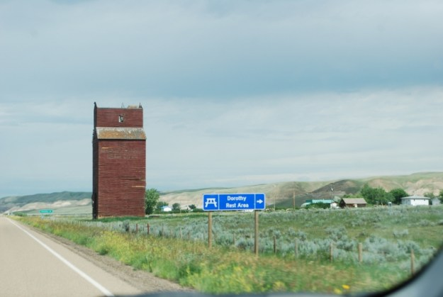 A red grain elevator in Dorothy, Alberta