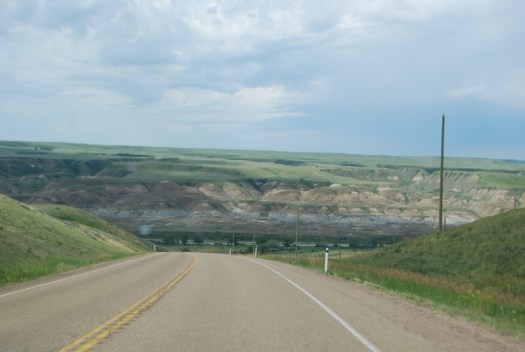 Driving towards the Canadian Badlands.