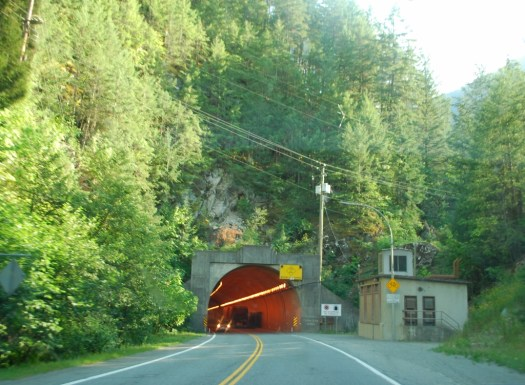 Driving through a tunnel in British Columbia