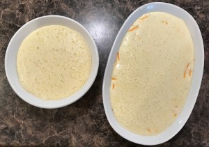 Cheddar cheese and thyme souffle unbaked