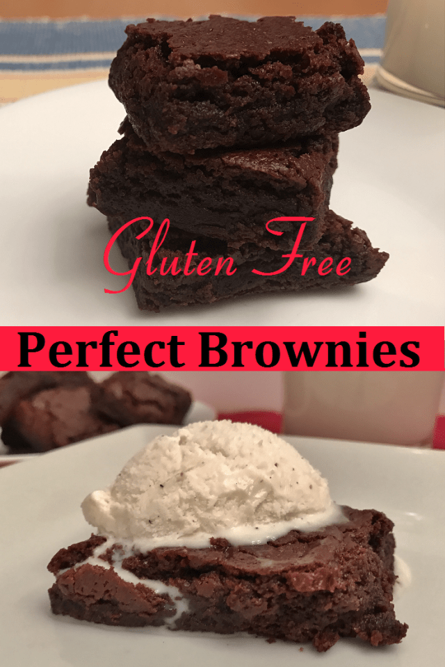 Perfect chewy and rich gluten free brownies.  You'd never know they are gluten free!
