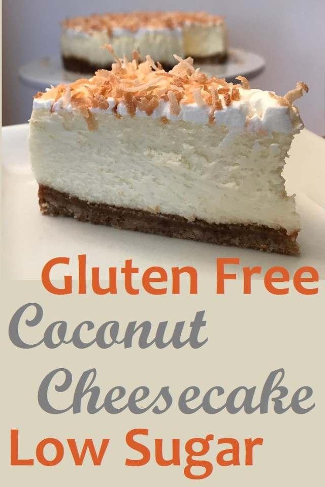 Enticing Coconut Cheesecake the is both gluten free and low in sugar.  SIMPLY AMAZING!  You would never know it is gluten free and reduced sugar.