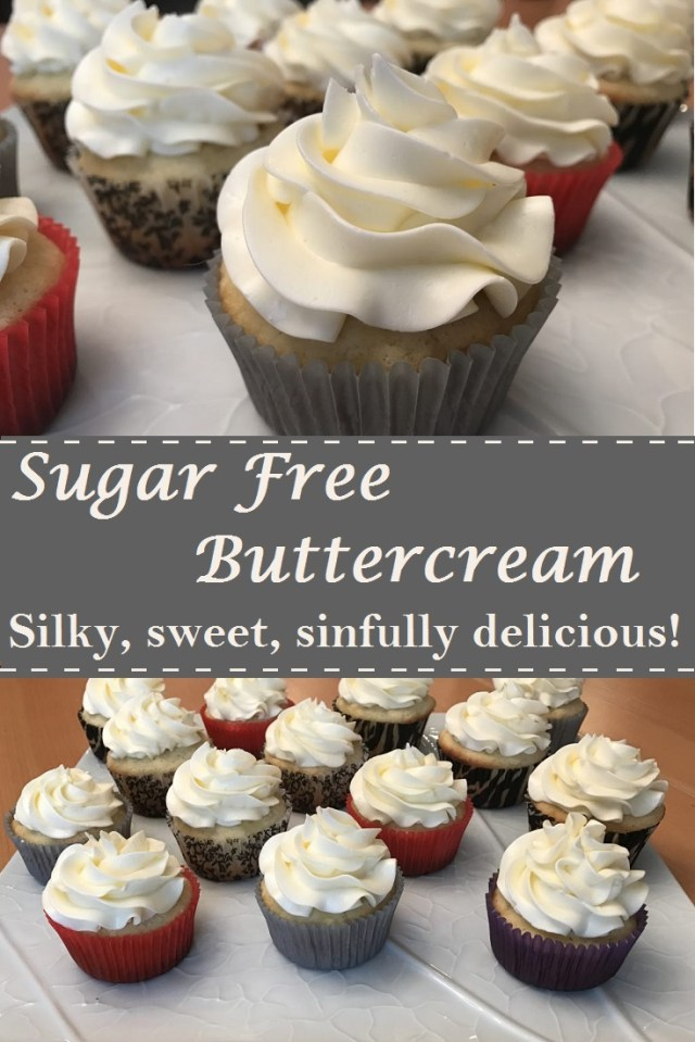 Best ever Sugar Free (SF) Vanilla Buttercream Icing recipe.  The frosting is smooth and delicious!