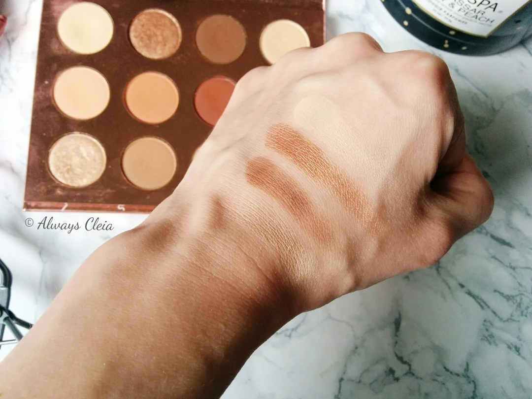 ColourPop Double Entendre Palette Swatches: Top Row
