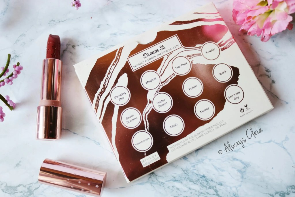 Dream St. Eyeshadow Palette Packaging and a lux lipstick