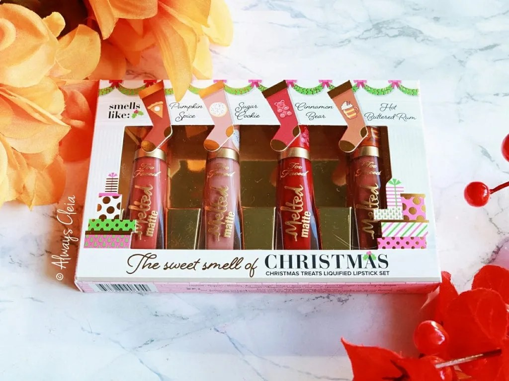 Too Faced Sweet Smell of Christmas Holiday Lipstick Set Review