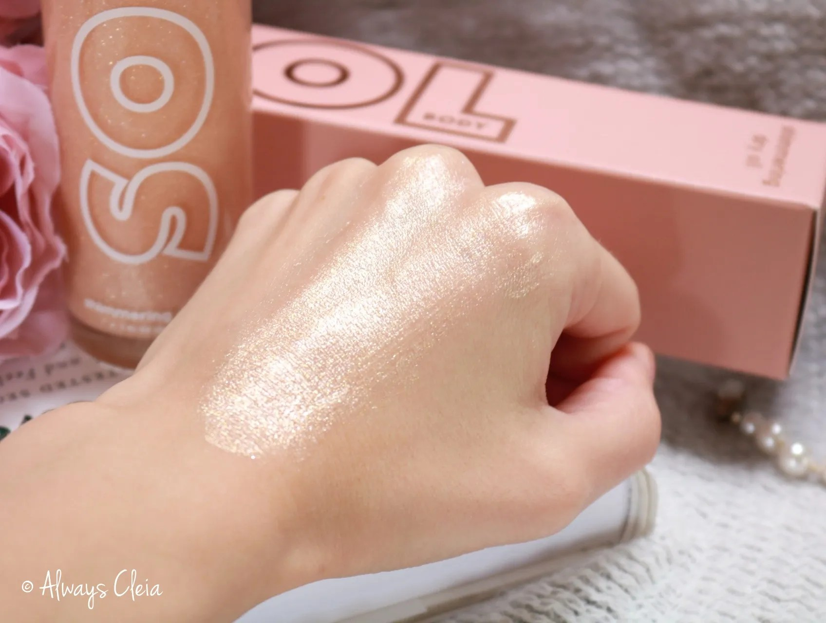 Soft Gold Shimmering Dry Oil Swatches Sol Body
