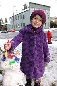 Proud of her Snowman
