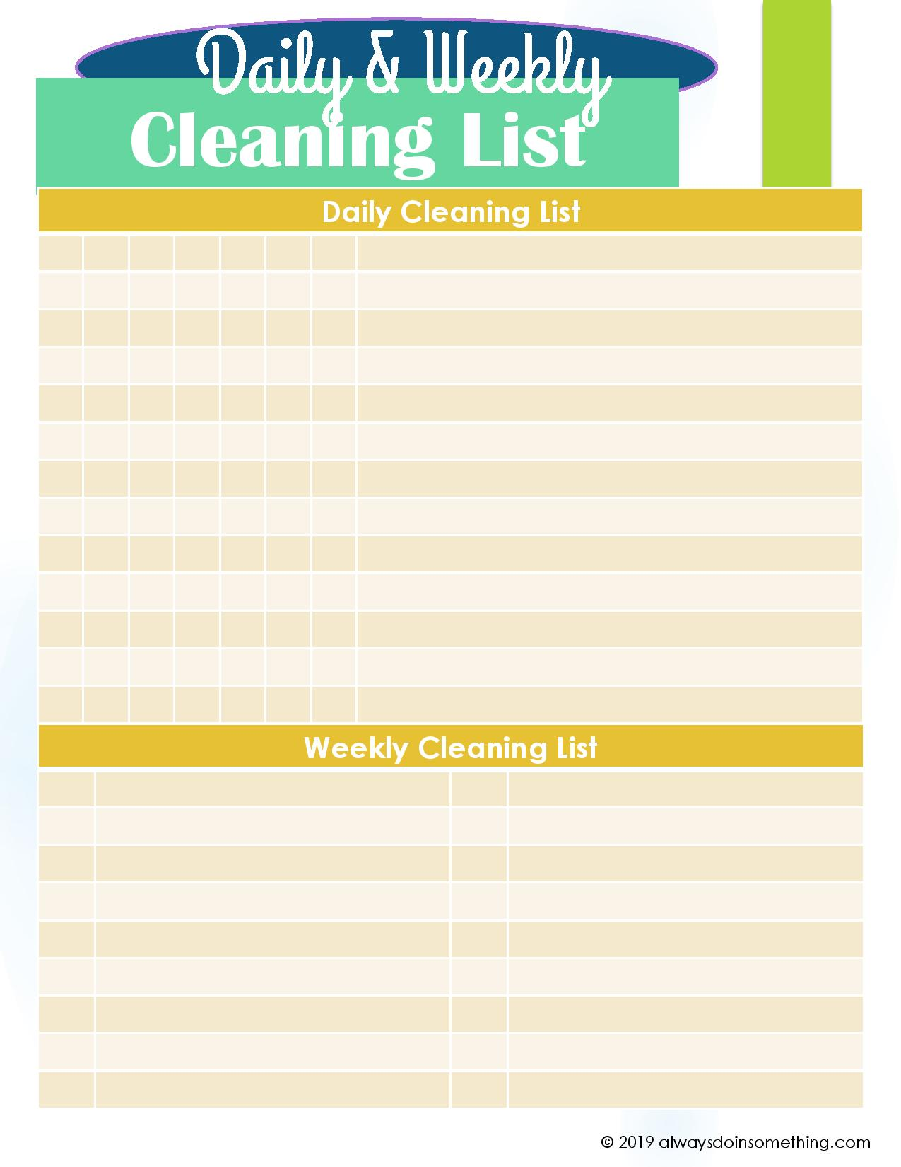 Getting You In Order Free Blank Daily And Weekly Cleaning