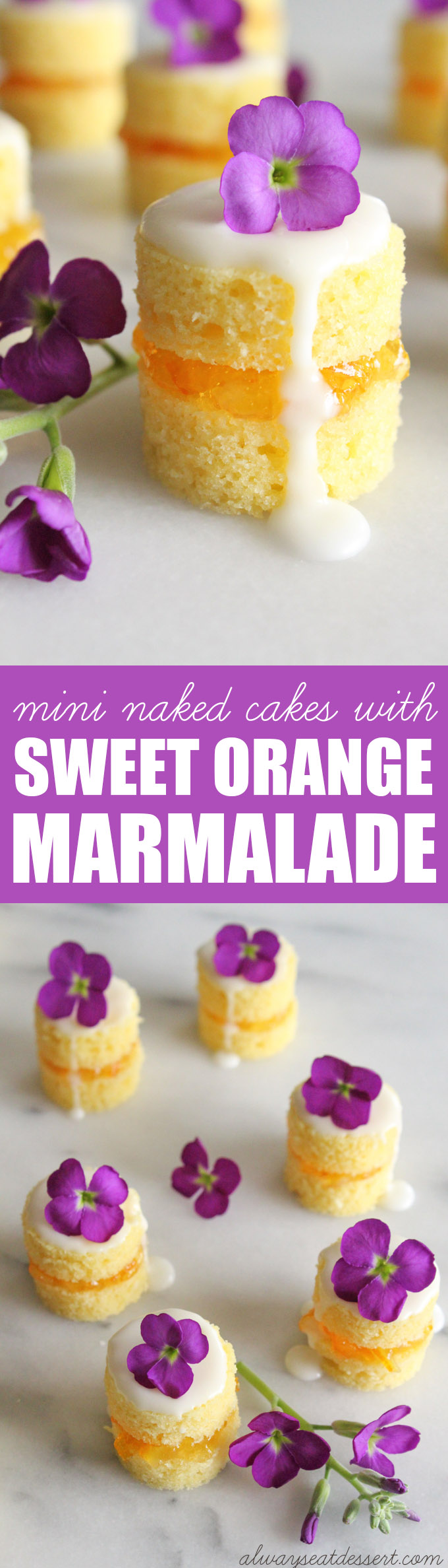 These mini naked cakes filled with sweet and tangy orange marmalade and garnished with fresh flowers are an elegant treat for a springtime brunch. They may look fancy, but they're simple to make.