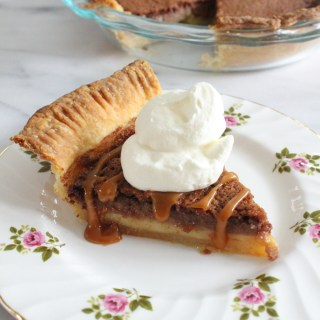 Chocolate Buttermilk Pie with Salted Caramel Sauce and Whipped Cream