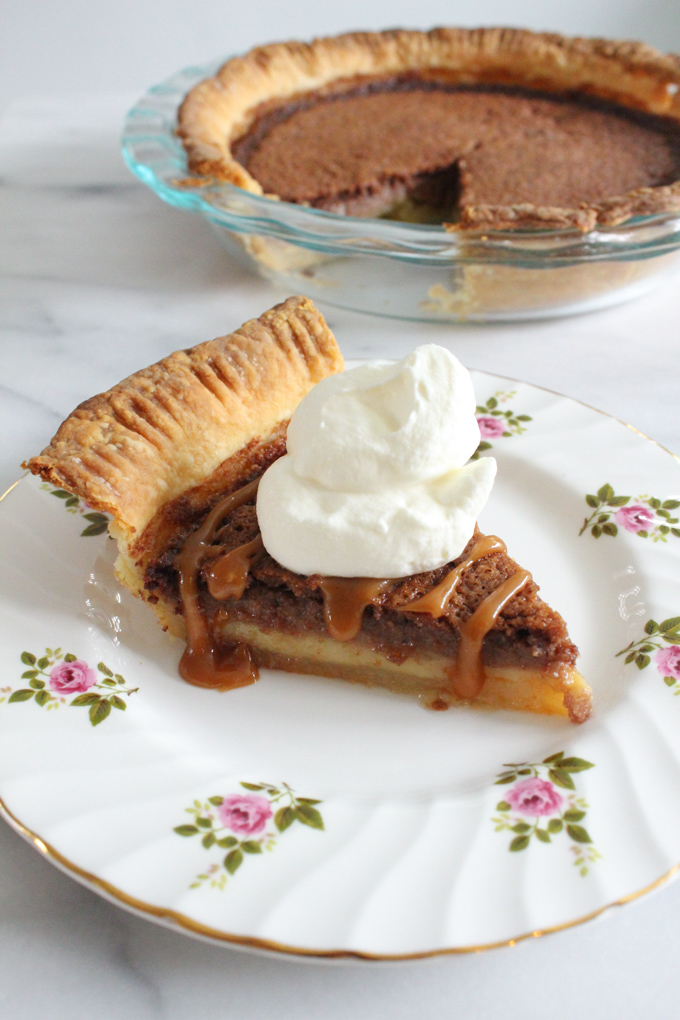 This chocolate buttermilk pie drizzled with salted caramel sauce and topped with whipped cream puts a fun spin on a southern favorite.