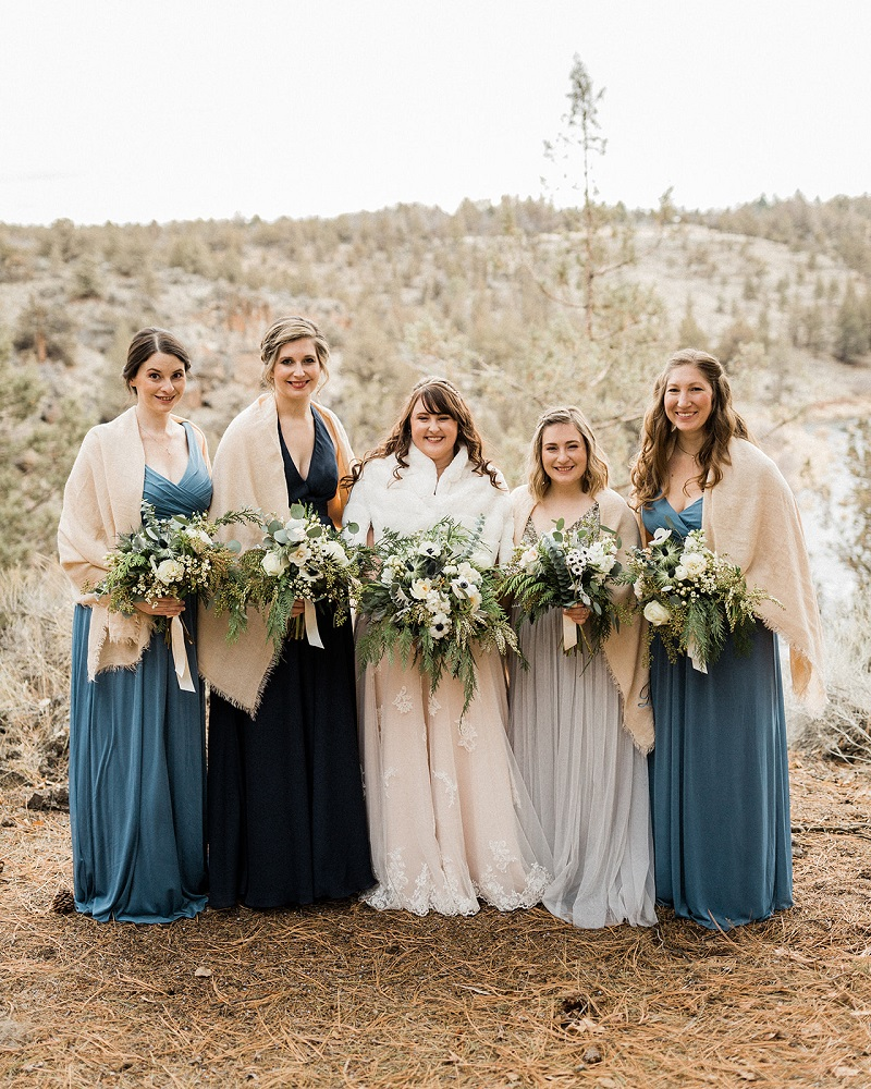 Wedding Party Wearing Shades of Blue with Stella York 6646
