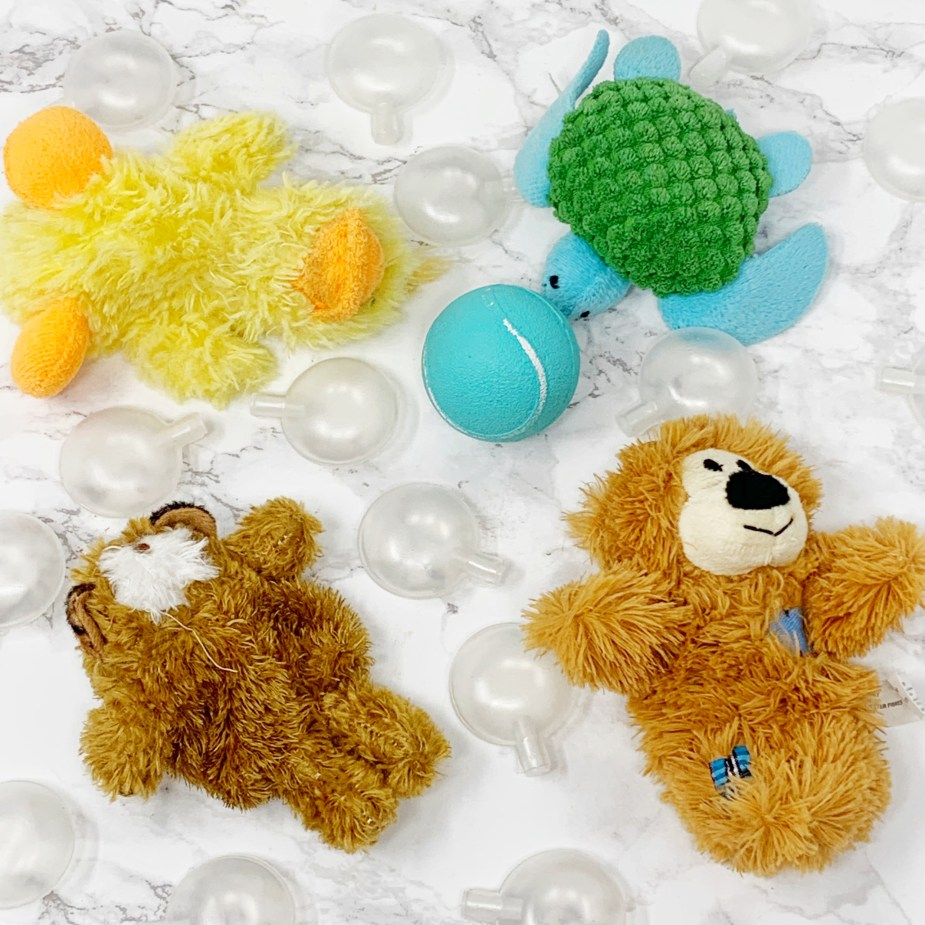 gifts for dogs kong bear, duck, turtle, and playology ball