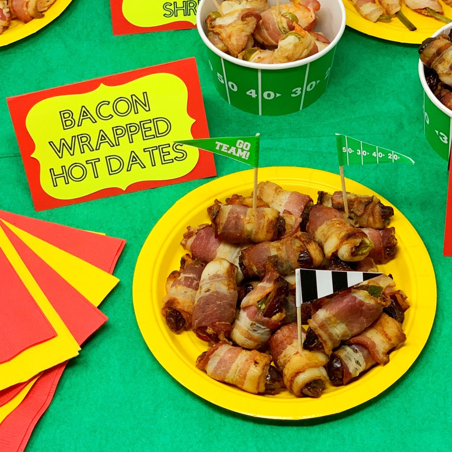 Bacon Wrapped Appetizers - Super Bowl Party Snacks and Decor
