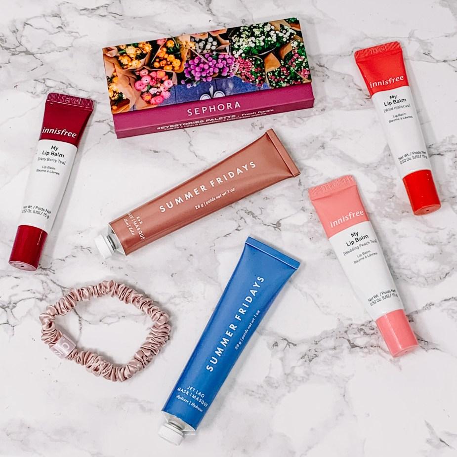 Sephora collections eyestories mini eyeshadow palette Fresh Florals, Summer Fridays Glow & Go set, and Innisfree lip balm