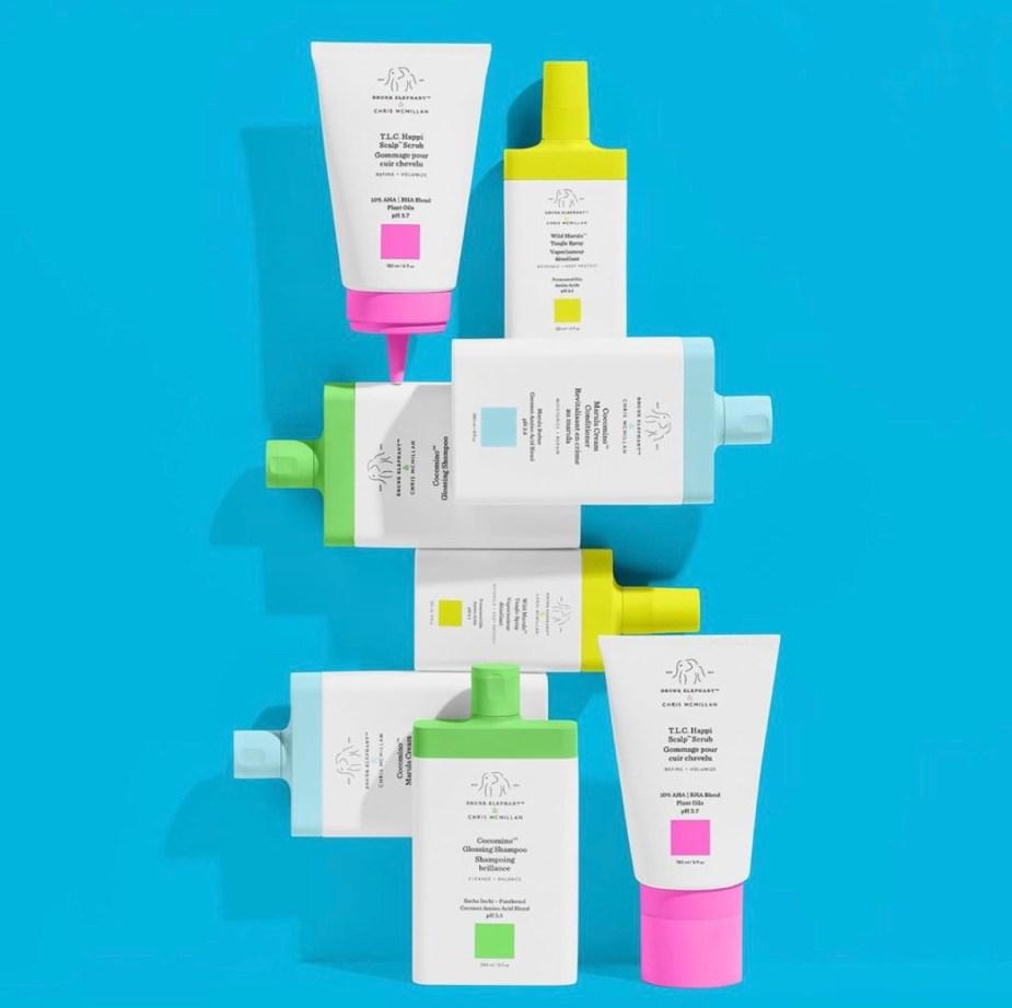 Drunk Elephant Hair Care - Cocomino Glossing Shampoo, Cocomino Marula Cream Conditioner, T.L.C. Happi Scalp Scrub, and Wild Marula Tangle Spray
